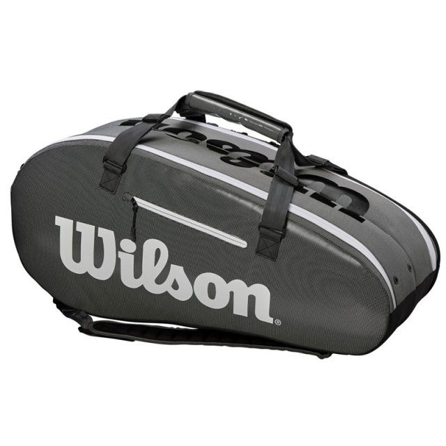 Wilson SUPER TOUR 2 COMPARTMENT LARGE 9PK 拍包袋 黑灰